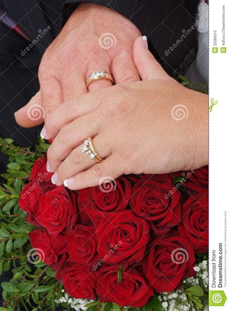 Wedding Red Rose Bouquet And Rings Stock Photos   Image
