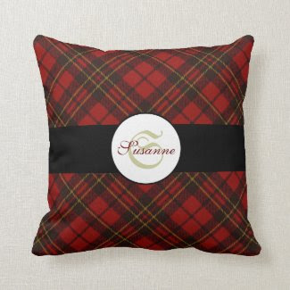 Adorable Red Christmas tartan Monogram pillow