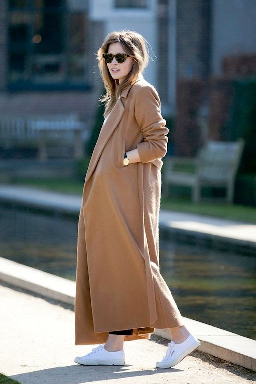 Le Fashion Blog Fall Winter Style Cat Eye Tortoise Sunglasses Full Length Long Camel Coat Cropped Black Pants Superga Sneakers Via Fash N Chips