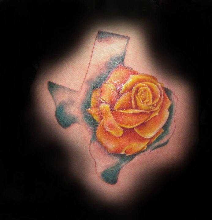 Yellow Rose And Texas Tattoo On Back