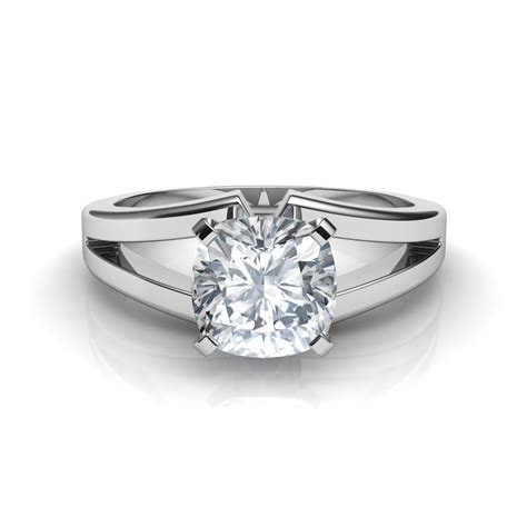 Split Shank Cushion Cut Solitaire Diamond Engagement Ring