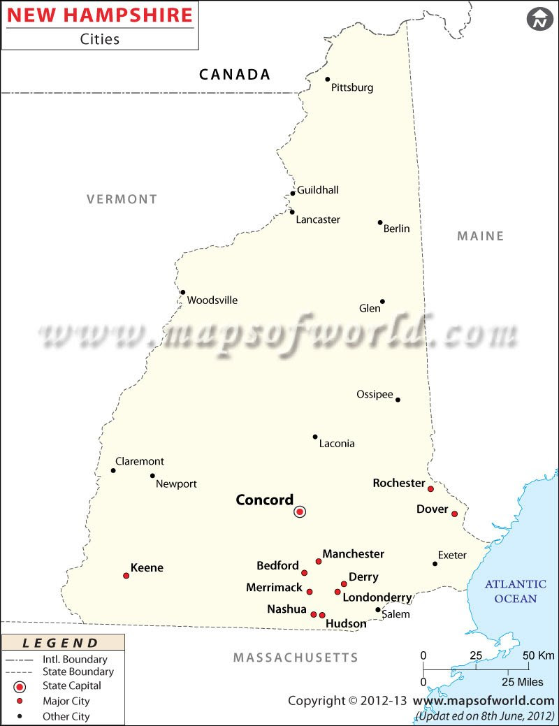 Cities In New Hampshire New Hampshire Cities Map