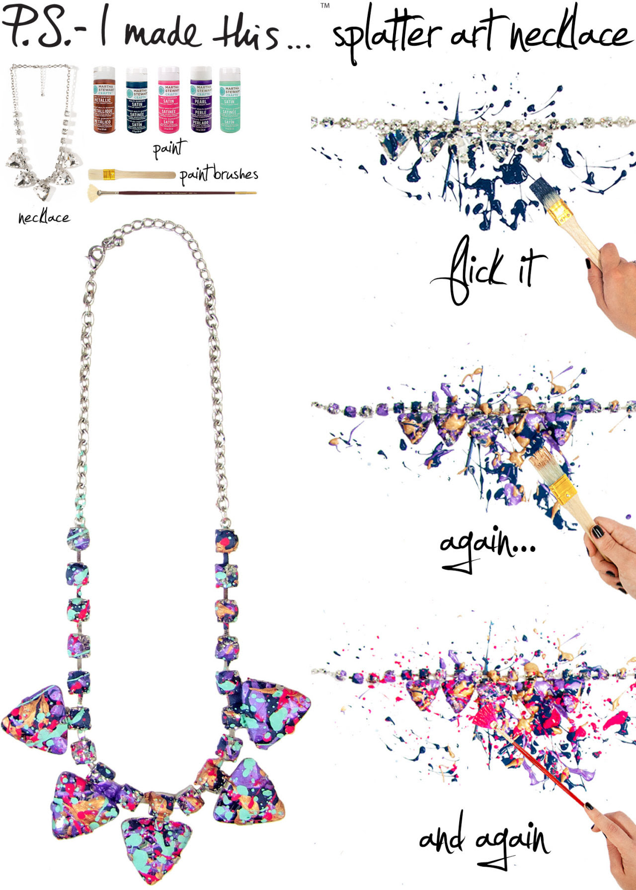Whether you're a Jackson Pollock aficionado or couldn't get enough of Spin Art as a kid, there's no denying the positive impact of colorful and energetic splatters of paint. Add an unexpected addition to your outfit with jewelry inspired by designer Tom Binns' splatter-effect Spring 2013 collection. This artistic wow-factor will makes you want to celebrate and paint the town. So bring out your inner DIY expressionist and turn an old accessory into a fresh work of art!  To create: Select an assortment of paint colors. The more colors, the more layers you'll have. To keep a tidy space, use newspaper or a drop cloth. Pour a dollop of paint onto a protective surface and dab a paint brush; flick onto a statement necklace, we opted for a chunky rhinestone version. Take your next color and repeat. Try different brushes for an array of speckled effects. Once finished, let completely dry before wearing.
