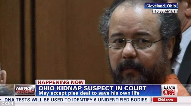Change of direction: Ariel Castro appeared in court this morning to accept a plea deal in order to save his own life