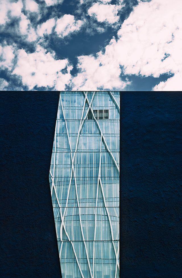 Diagonal 00 Tower Reflected on Barcelona Forum Mirror [enlarge]
