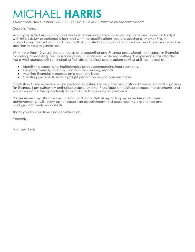 Cover Letter Sample For Finance Manager Sample Cover Letter