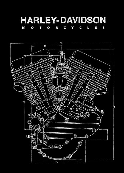 Harley Davidson Panhead Engine Blueprint 1948 T-Shirt for