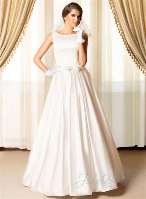 Simply Chic Bateau Neck Plain Satin Wedding Dresses