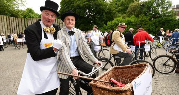 Graham Wilkinson and Paul Kennedy participate in the 20th annual Brennan's bread Bloomsday messenger bike rally in Dublin. Photograph: Alan Betson