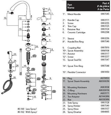 pegasus bathroom faucet parts diagram