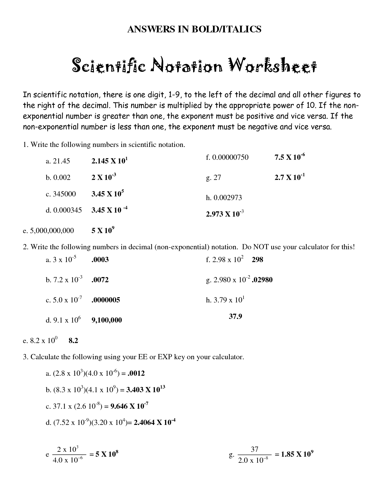 8 Best Images of Scientific Notation Worksheet With Answer Key  Scientific Notation Worksheet