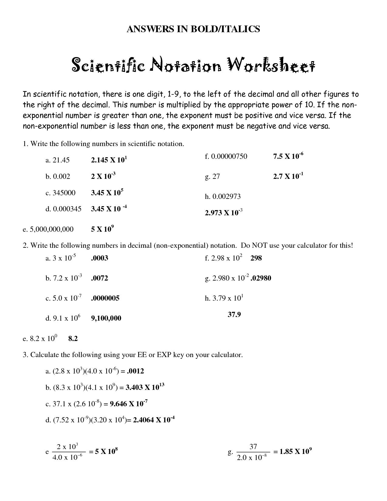 8 Best Images of Scientific Notation Worksheet With Answer Key  Scientific Notation Worksheet