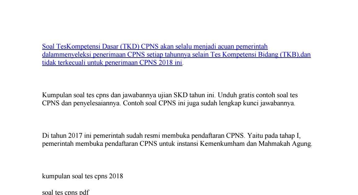 45+ Soal cpns kemenkumham 2017 pdf formasi cpns