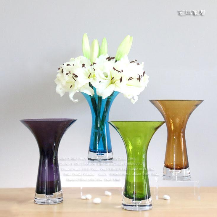 Ceramic Club Small fresh glass flower vase simple modern ...