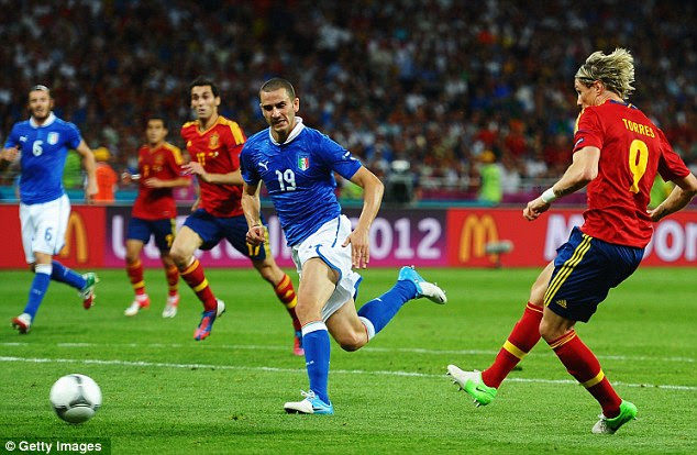 Three and easy: Torres came off the bench to score in a Euro final for the second time