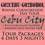 Cebu City + Kawasan Falls Nature Trek + Pescador Island Hopping + Bohol Countryside Day Tour Itinerary 4 Days 3 Nights Package