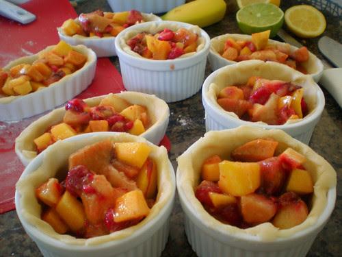 Mini peach raspberry pies in ramekins