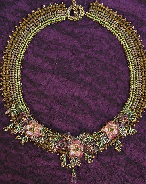 Herringbone stitch with graduated beads and beaded embellishments.