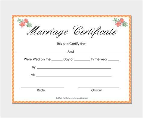 Marriage Certificate Template   22  Editable (For Word