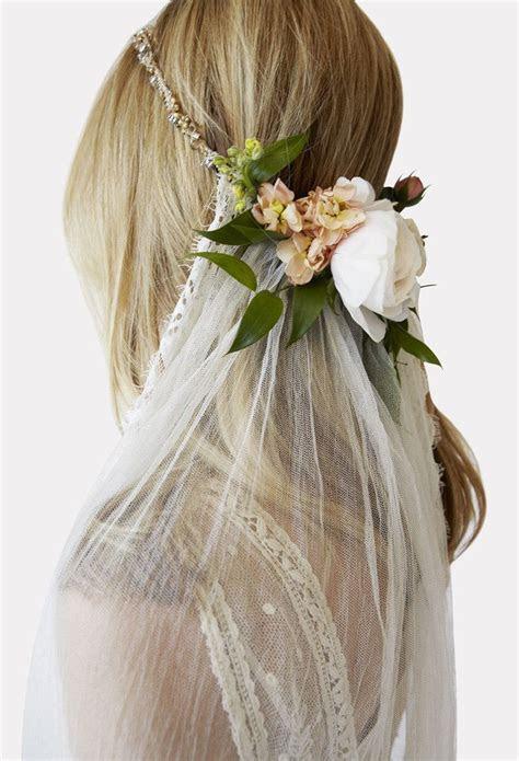 flower crown  veil wedding hair