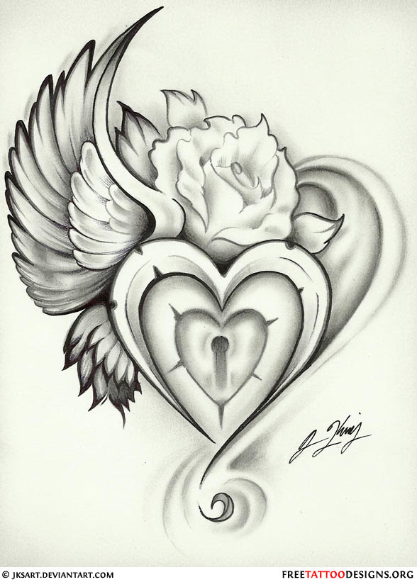 Small Heart With Angel Wings Tattoo Designs