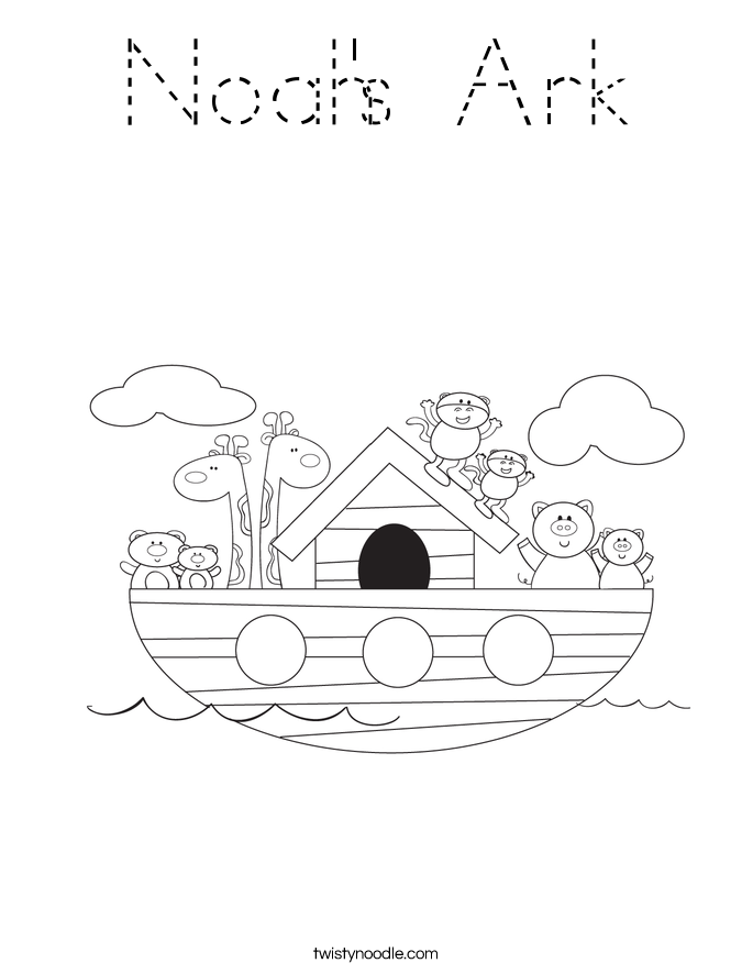 Noah's Ark Coloring Page - Tracing - Twisty Noodle