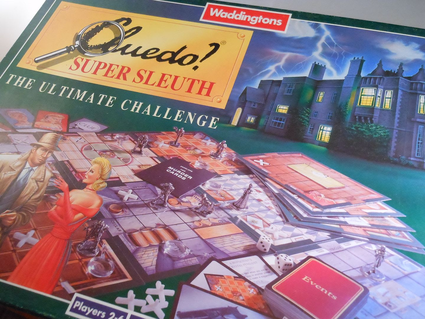 Artwork from the box cover for Cluedo Super Sleuth, from 1995.