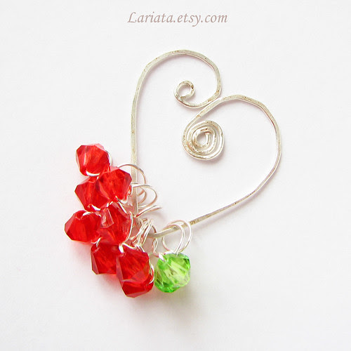 stitch markers on a heart holder