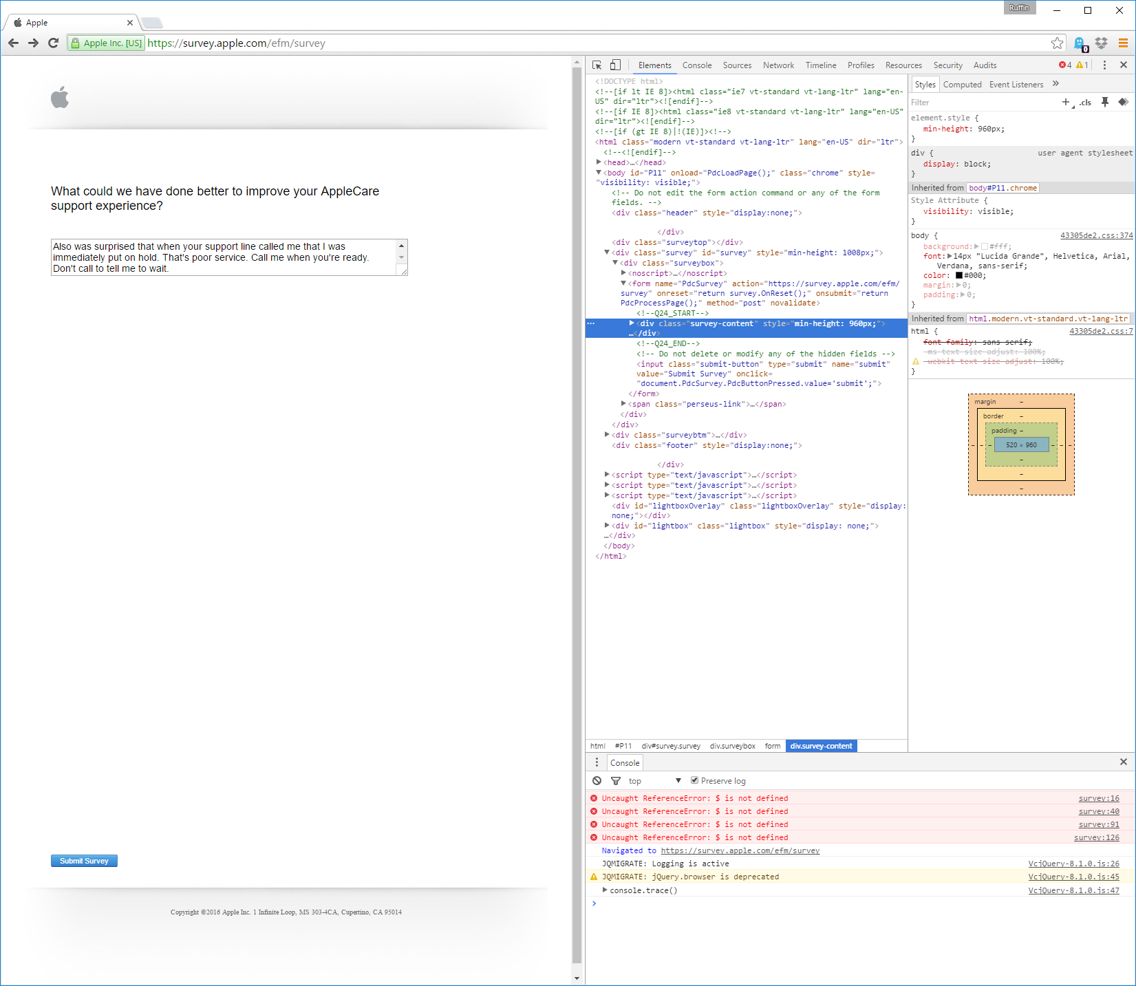web inspector of Apple survey page