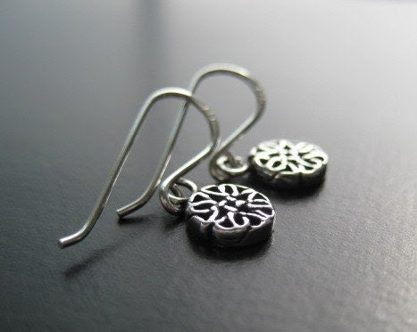 Simply Silver, Very Tiny Filigree Drop Earrings, Sterling Silver