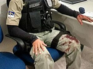 Soldado que atirou em cabo foi preso e recolhido para o 11° BPM (Foto: Reprodução/WhatsApp)