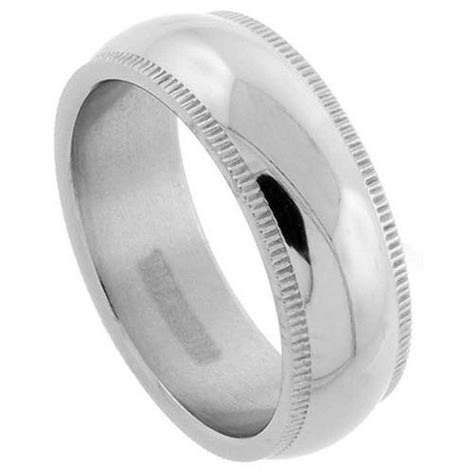 7mm Titanium Dome Milgrain Wedding Band Ring, Highly