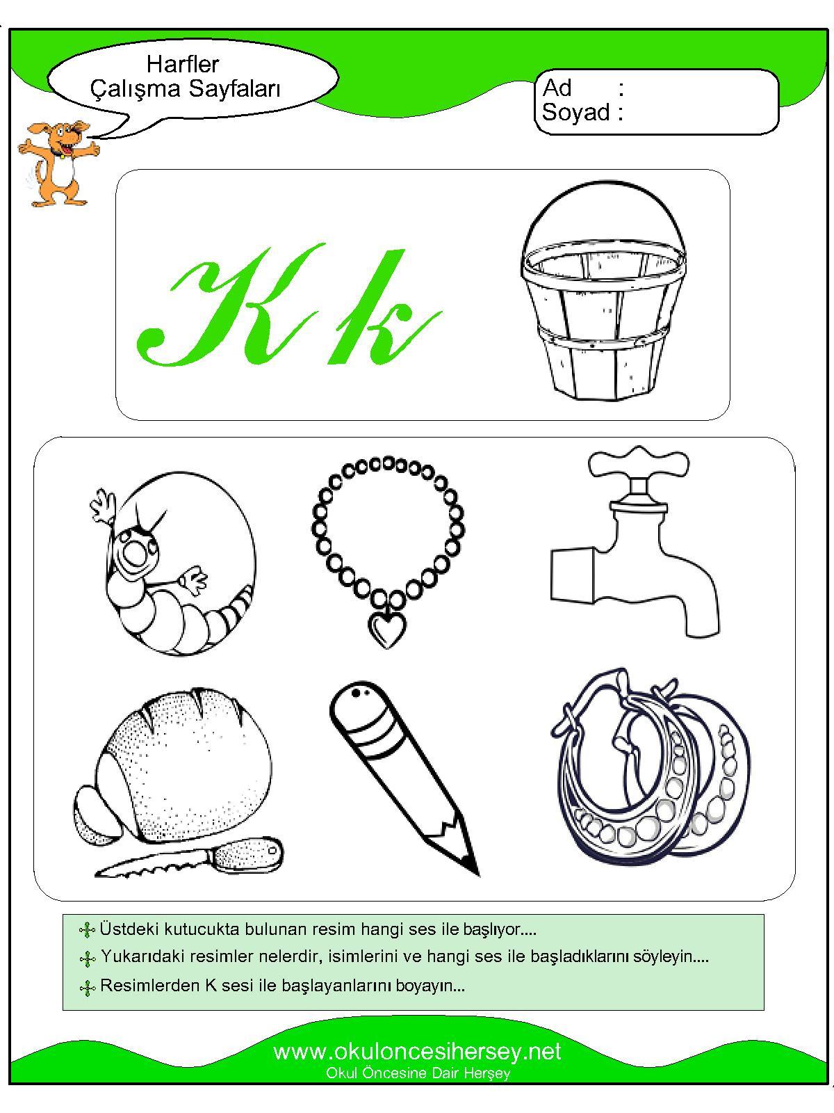 K Sesi çalışma Sayfaları