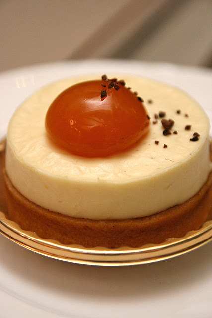 Tarte Exotique - Almond tart, gula Melaka cremeux, finger sponge with gula Melaka, coconut mousse, exotique coulis