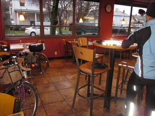getting ready to depart at Kettleman's Bagels