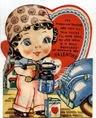 free vintage valentine card little girl painting car