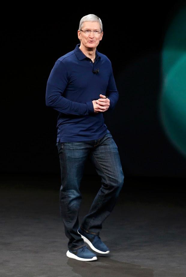 Tim Cook, CEO da Apple, em anúncio de novos lançamentos da empresa nesta quarta-feira (7) (Foto:  REUTERS/Beck Diefenbach)