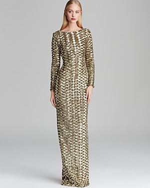 Badgley Mischka Metallic Sequin Scoop Back Gown