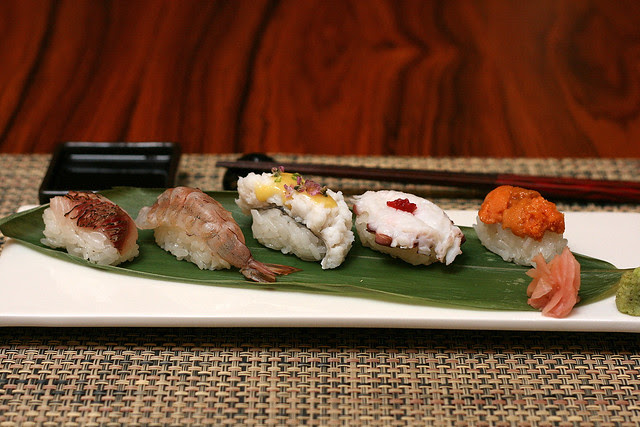 Sampler Sushi - Aburi Tai, Crystal Bay Prawn, Hamo, Octopus, Hokkaido Uni