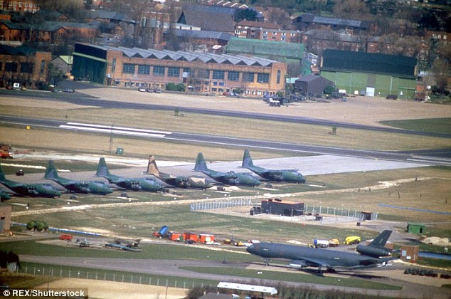 The plane was deployed to RAF Mildenhall in Britain (pictured) but it is still not clear exactly why it has been sent to Europe