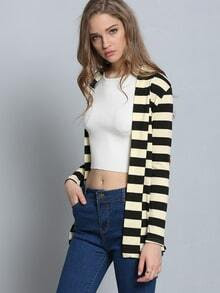 Color-block Long Sleeve Striped Patch Coat