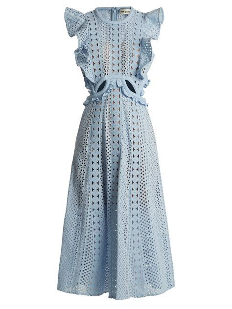 Self Portrait   Ruffled Cut Out Broderie Anglaise Cotton