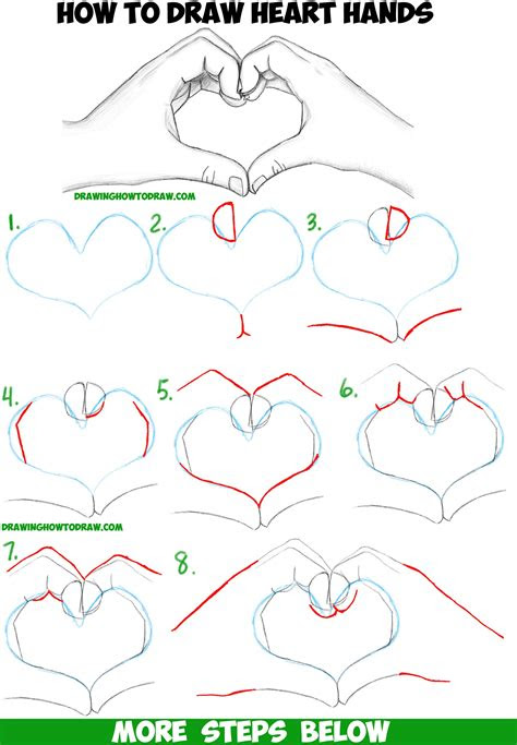 draw heart hands  easy  follow step  step