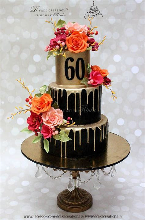 Three Tier Black & Gold Cake with Sugar Flowers for 60th