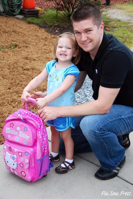 Lauren and Mr. PinSewPress - first day of preschool!
