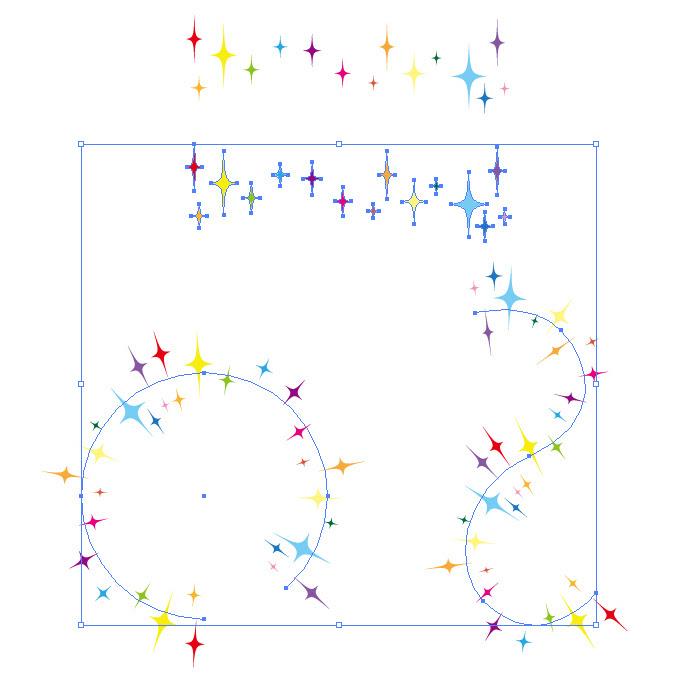 虹色のキラキラしたイラストのイラレパターンブラシ イラレのブラシ