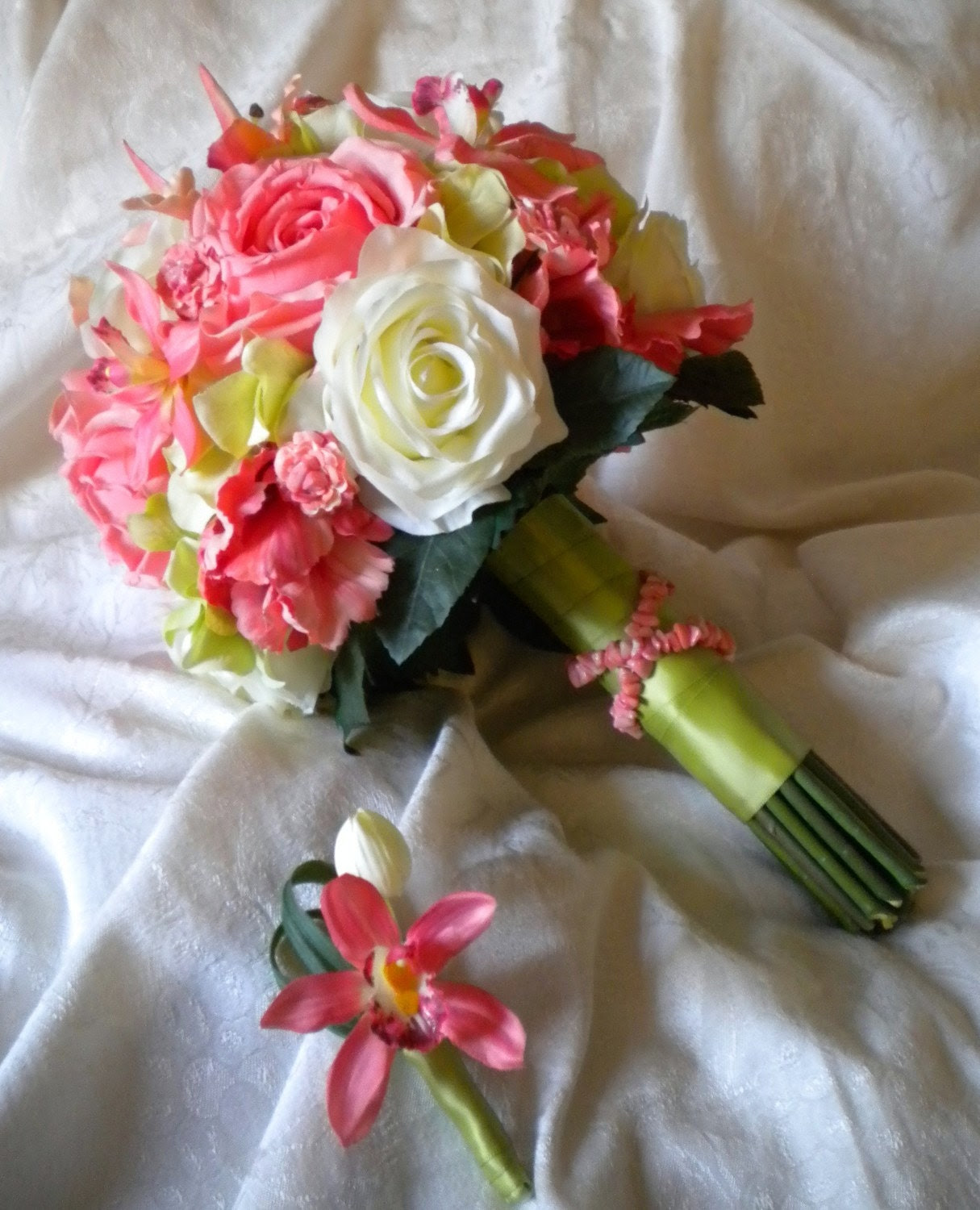 CORAL Wedding Bouquet with Genuine Coral Gemstones and Matching Boutonniere
