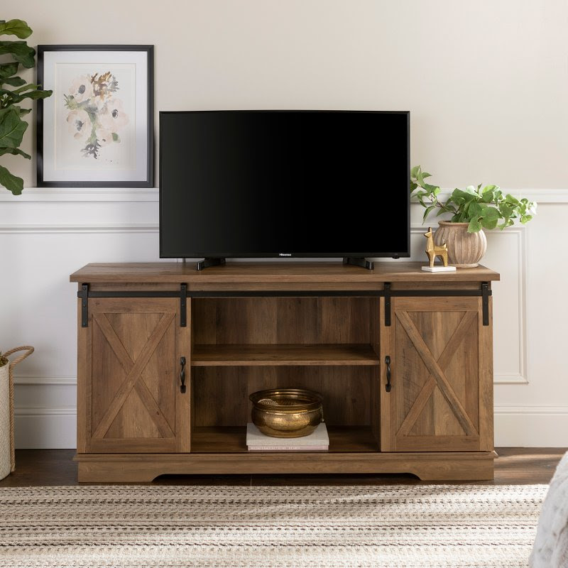 Modern Farmhouse 58 Inch Wood Tv Stand Rustic Oak