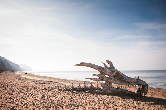 """Beachgoers were surprised to find a bus-sized giant skull wash up on Dorset's """"Jurassic Coast."""""""