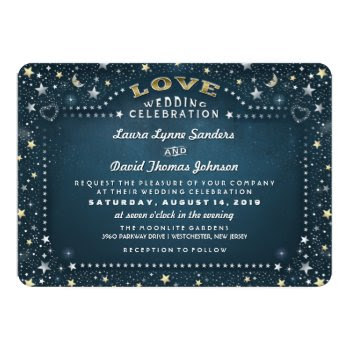 Teal White & Gold Moon & Stars Love Wedding 5x7 Paper Invitation Card by juliea2010 at Zazzle